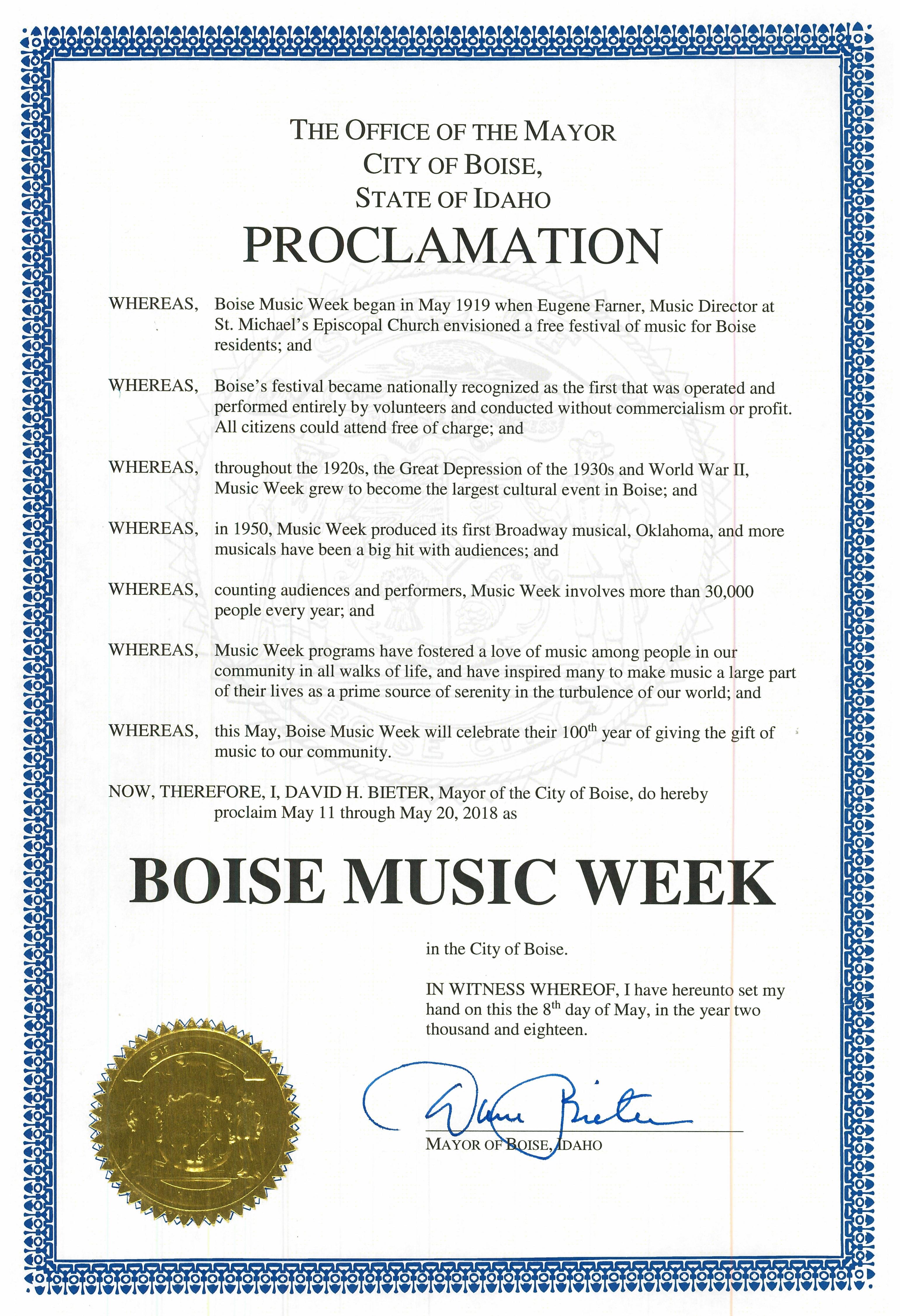 Mayor's Proclamation 2018